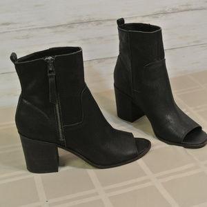 3ba69df9aabe Lucky Brand KAMREN Peep 9 M Black Leather Bootie